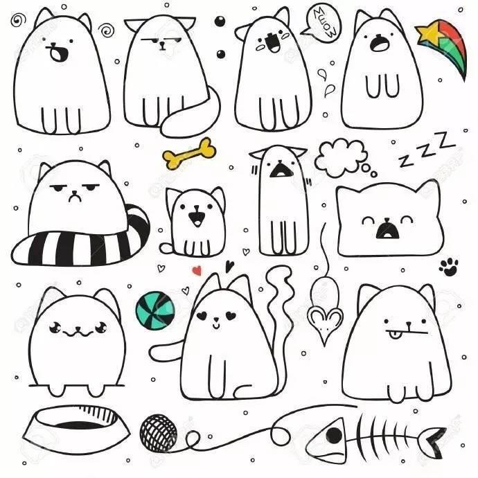 简笔画教程 | 小猫咪绘制大全,喜欢喵星人快快收了吧!