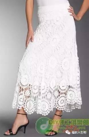 一款比利时钩编裙子,花样图解