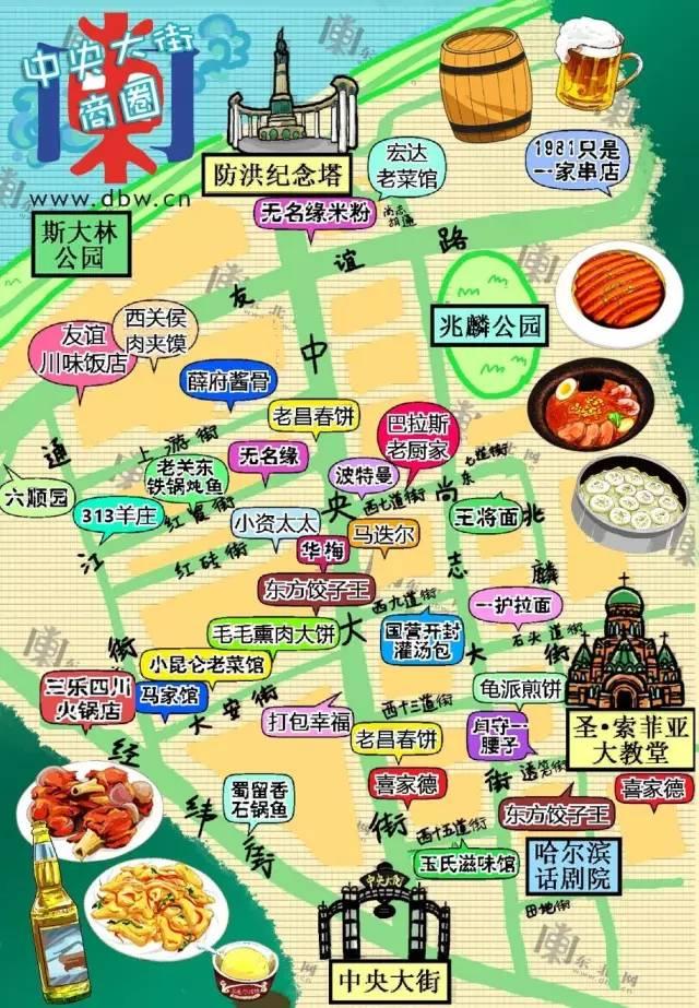 哈尔滨中央大街美食地图【手绘版】