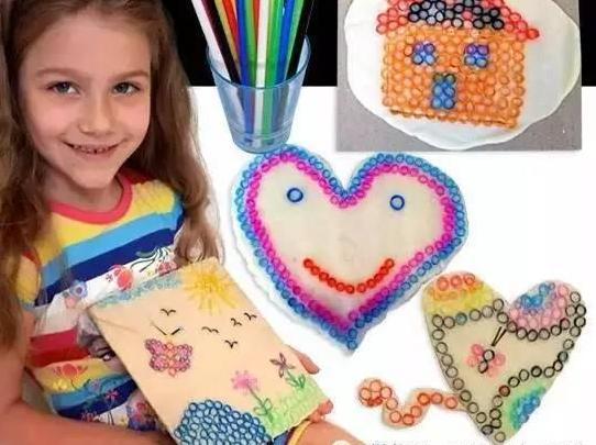 幼儿园创意亲子手工,用树枝,毛线和吸管做粘贴画图片