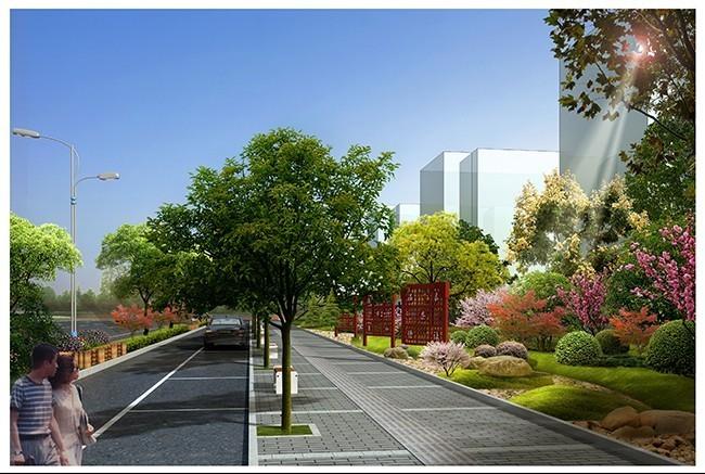人行道铺装及景观效果图图片