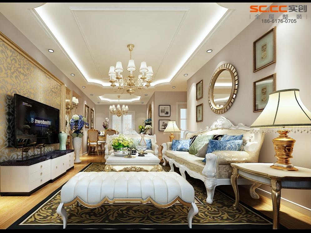 107㎡三居室,简欧风格设计搭配,欧式风格古典家具搭配更加时尚图片