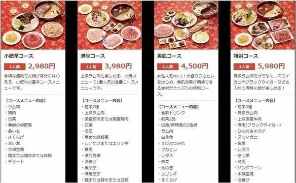小肥羊火锅2017菜单