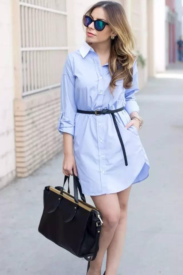 经典百搭的气质衬衫裙又火了,时髦又有女人味! 服饰潮流 图46