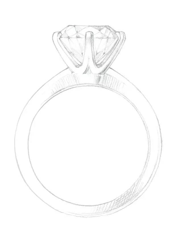 蒂芙尼六爪镶嵌钻戒设计手绘图