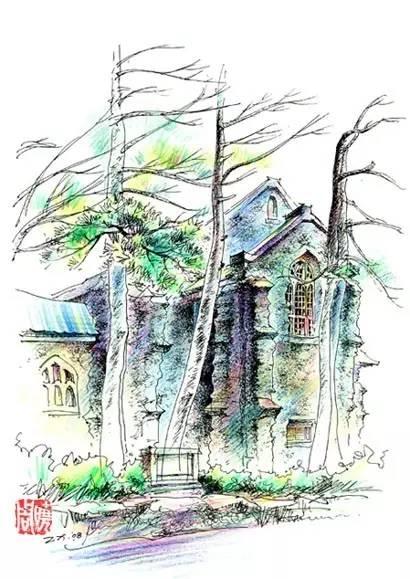 景观建筑手绘不同于传统的油画,水彩,水粉等绘画形式,它是以针管笔