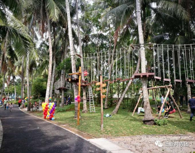"""在这里,孩子们还可以""""丛林穿越"""",玩转高空探险,体验平衡绳拓展,感受图片"""