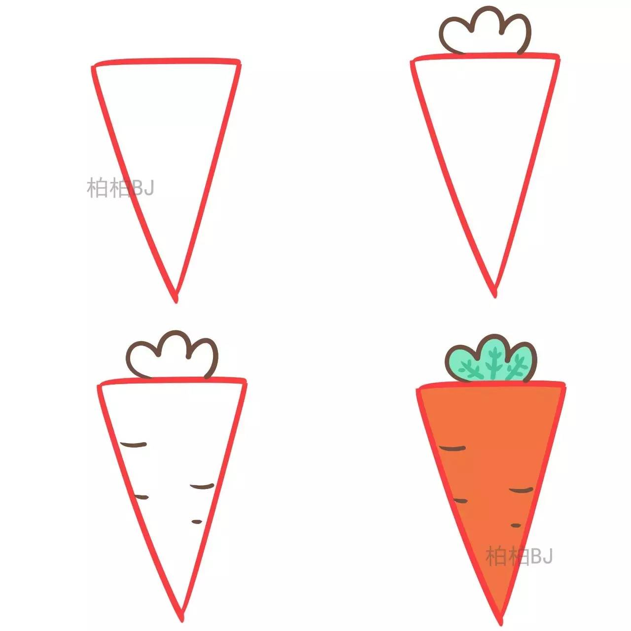 三角形简笔画【植物瓜果蔬菜篇】图片