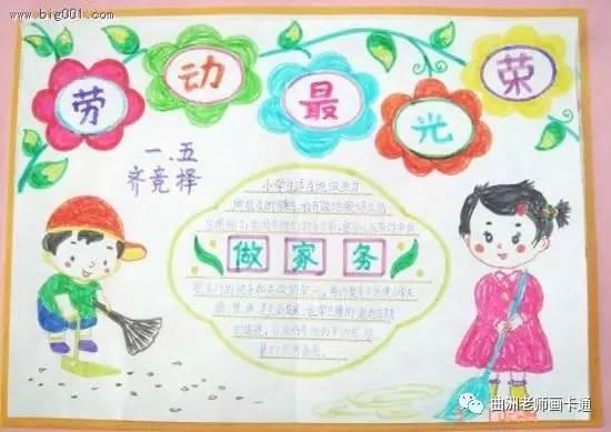 劳动节手抄报,用简笔画怎么画出儿童劳动的场景