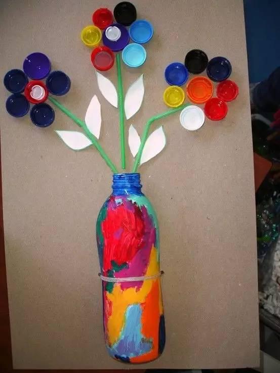 幼儿教师拼贴画-瓶盖大显神通,幼师手工脑洞大开