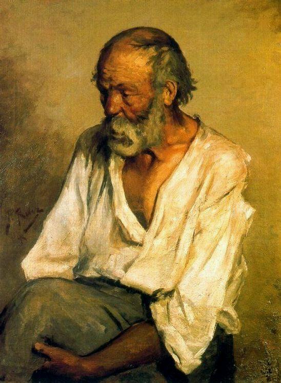 毕加索13岁时候画的一张油画《老渔夫》.