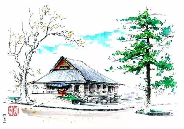 景观建筑手绘以其画面流畅轻松的钢笔线条,潇洒概括的马克笔,彩色铅笔