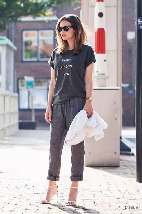 穿衣搭配|经典百搭的短袖T恤+九分裤 时尚潮流 第48张
