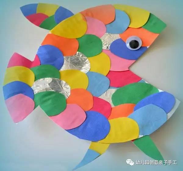 幼儿园亲子手工之废物利用 冰棍棒光盘等,轻松搞定你的小鱼作业