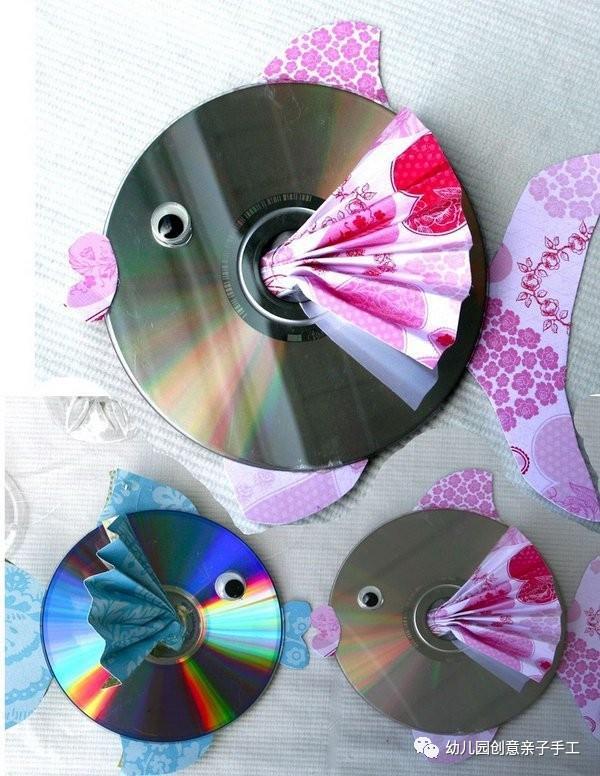 幼儿园亲子手工之废物利用:冰棍棒光盘等,轻松搞定你的小鱼作业图片