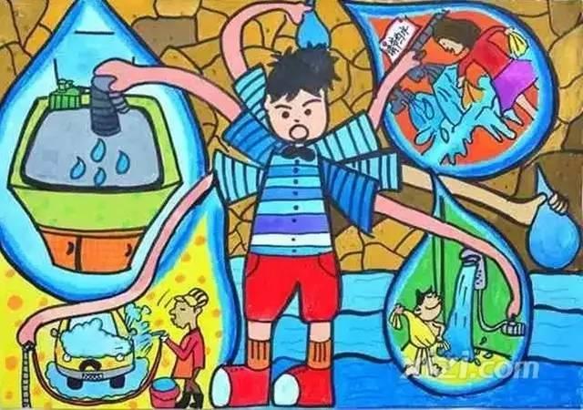 """涂鸦作品示例 第一届""""环保创意涂鸦大赛""""一等奖作品:神奇循环水资源"""