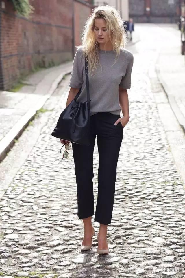 穿衣搭配|经典百搭的短袖T恤+九分裤 时尚潮流 第47张