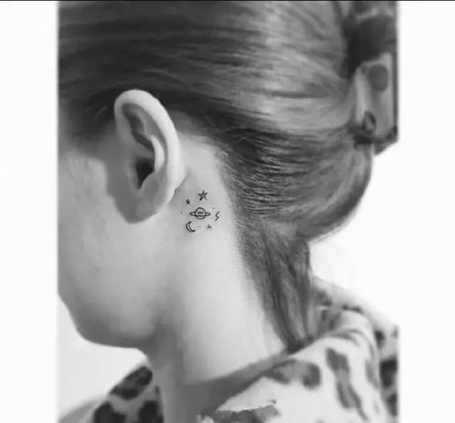 半永久艺术 耳后小纹身
