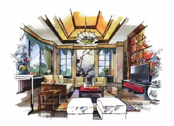 室内设计图解马克笔手绘快题分析上色中通快递店面装修设计图片