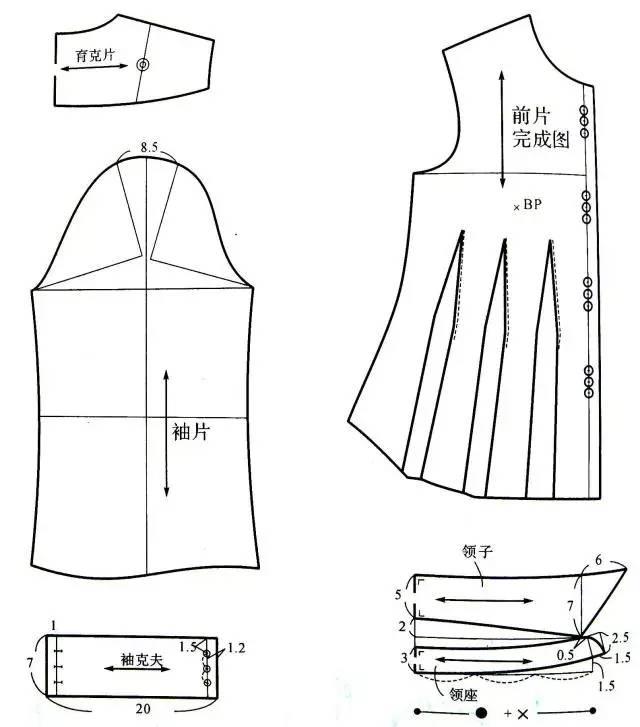 四种女士衬衫的版型设计