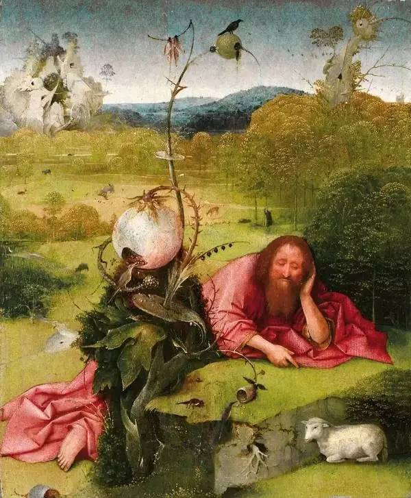 西班牙马德里拉扎罗·加迪亚诺博物馆收藏的博斯画作《施洗者约翰》(局部).