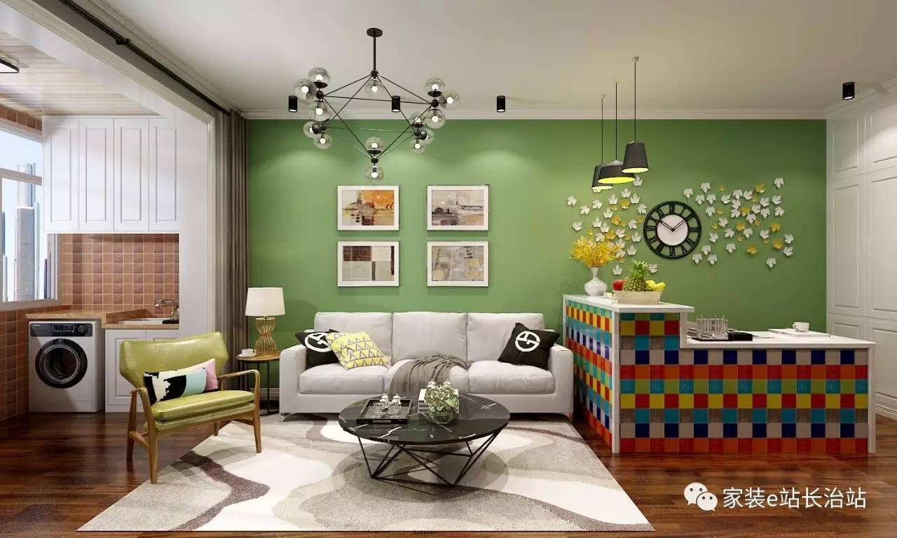 墙壁映衬在墙壁下,与抹茶绿的阳光相沐浴,再加之客厅上树叶黄白的搭配现代风铜条室内设计图片