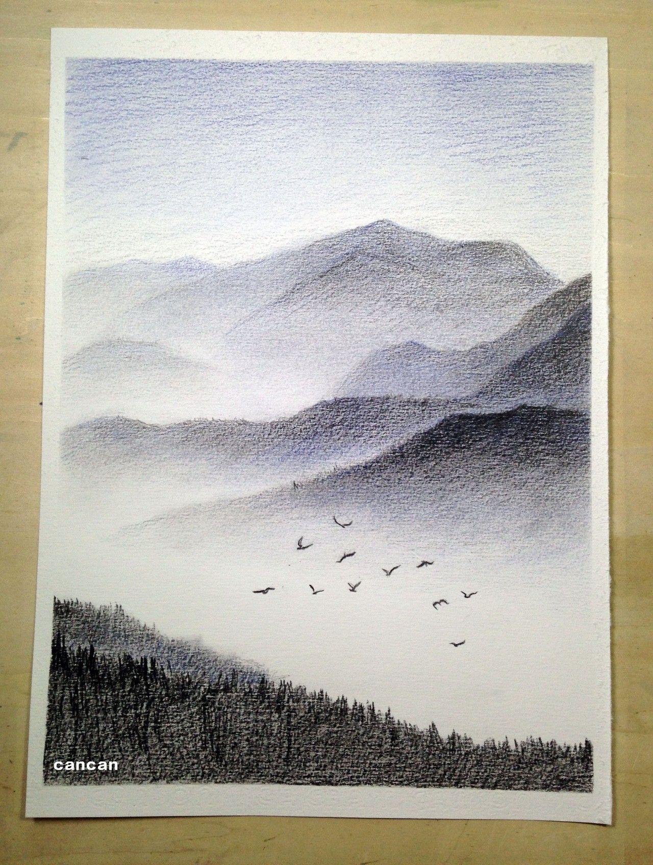 手绘板图片风景