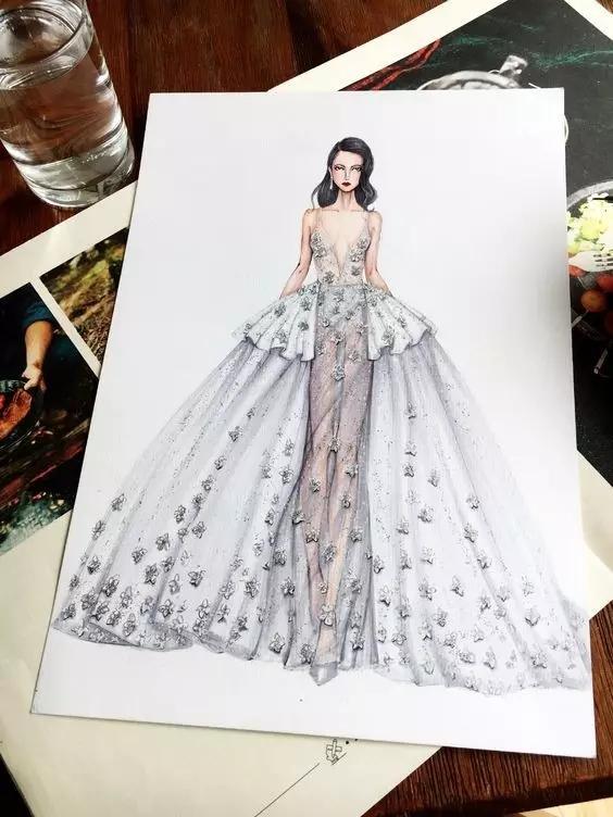 时装设计师笔下的70张华丽手绘礼服效果图图片
