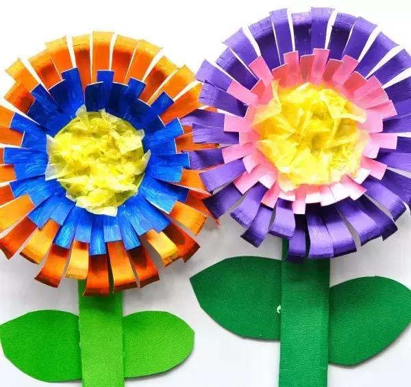 幼儿园创意亲子手工花束:毛线不织布扭扭棒花惊艳图片