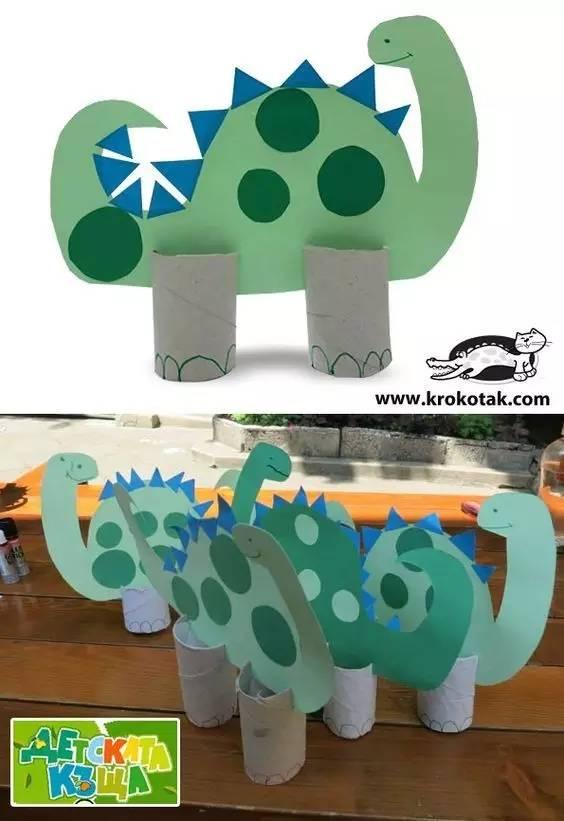 幼儿园母亲节亲子手工制作:纸盘恐龙+水族馆