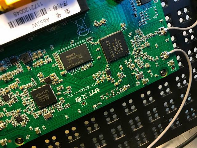 电路板显示:艾泰a651w路由器采用mtk 580mhz的处理器,dram内存64mb