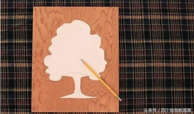 四个爸爸:纽扣手工制作大树的画