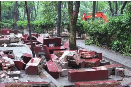 """南郊公园 拆除161个烧烤台图"""""""