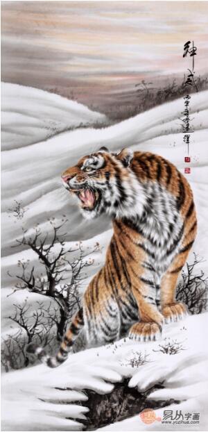 威》作品来源:易从网-中国当代擅长画虎的画家 王建辉