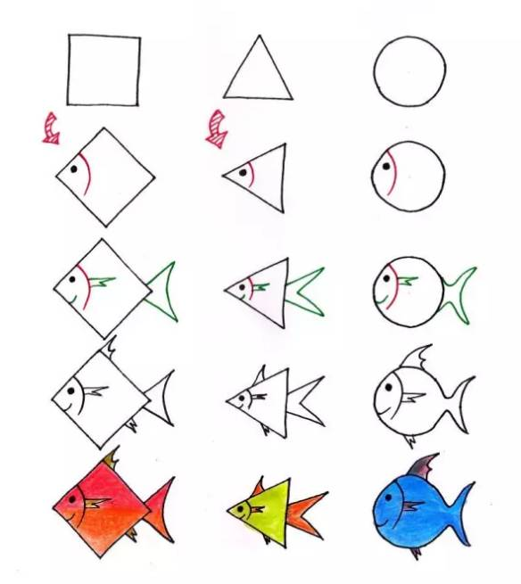 只用正方形,三角形和圆形,就能教会孩子轻松画画!一起来学
