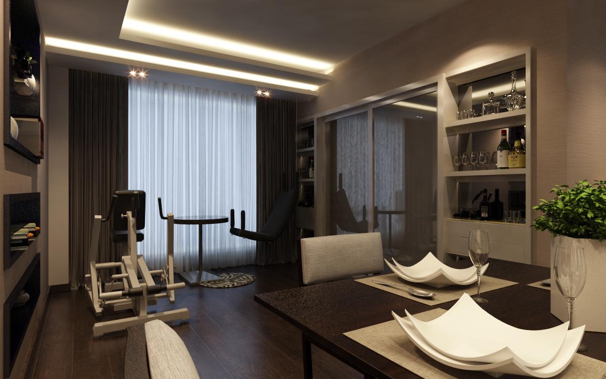 龙发装修建业春天里142平方现代简约三室两厅——餐厅阳台装修效果图