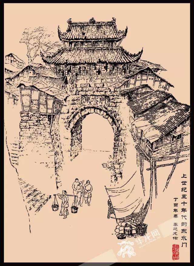 重庆吊脚楼手绘线稿