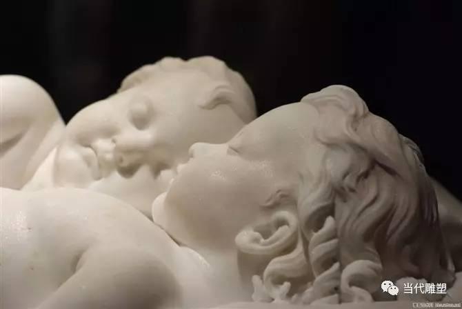 熟睡的婴儿汉白玉裸体人体雕塑