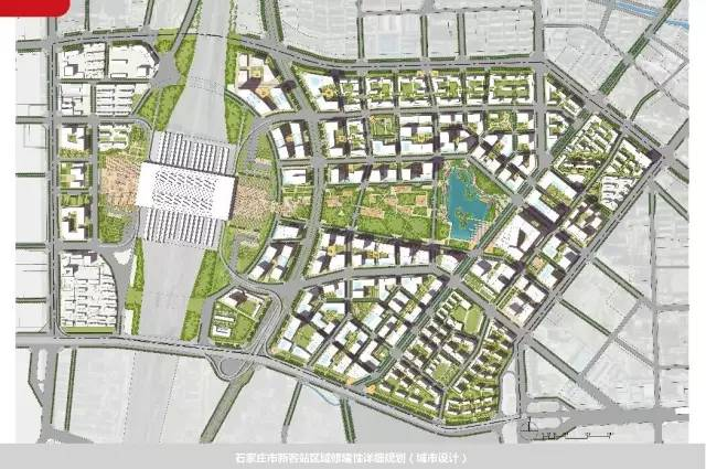 由规划平面图可以看出,该片区规划建有大面积绿地以及中心湖,围