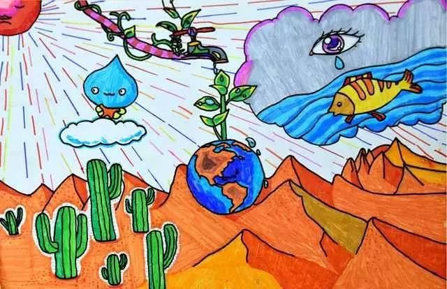 节约用水图片儿童画 儿童画画图片图片