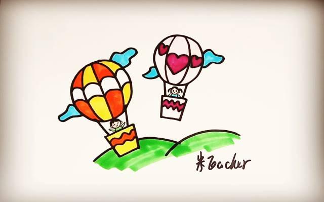 手绘简笔画气球飞机