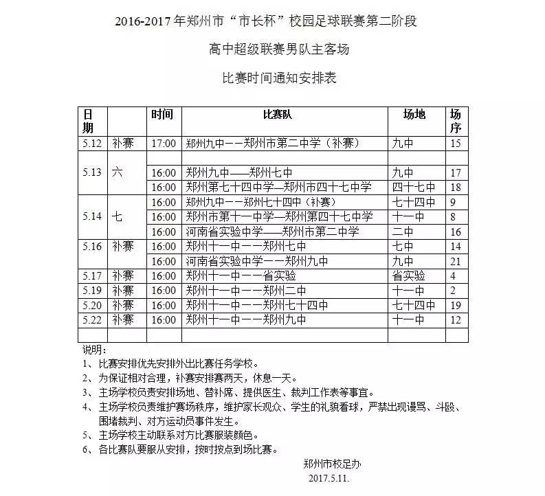 """2016-2017年郑州市""""市长杯""""校园足球联赛第二阶段 高中超级联赛男队主客场比赛时间通知安排表"""