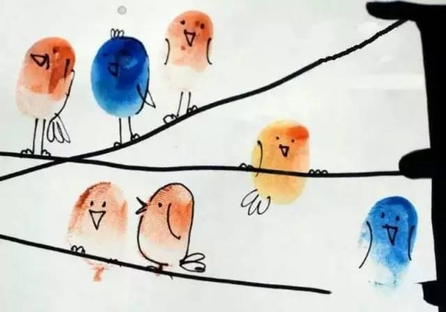 这些可爱的手指画,一群小小鸟站在电线杆上唱歌,想来试试吗?图片
