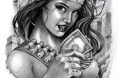 欧美纹身手稿素材_纹身素材——欧美女郎纹身手稿