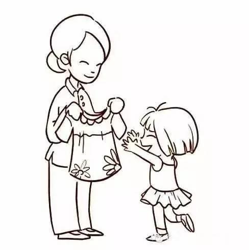 简单的人物简笔画,妈妈与女儿