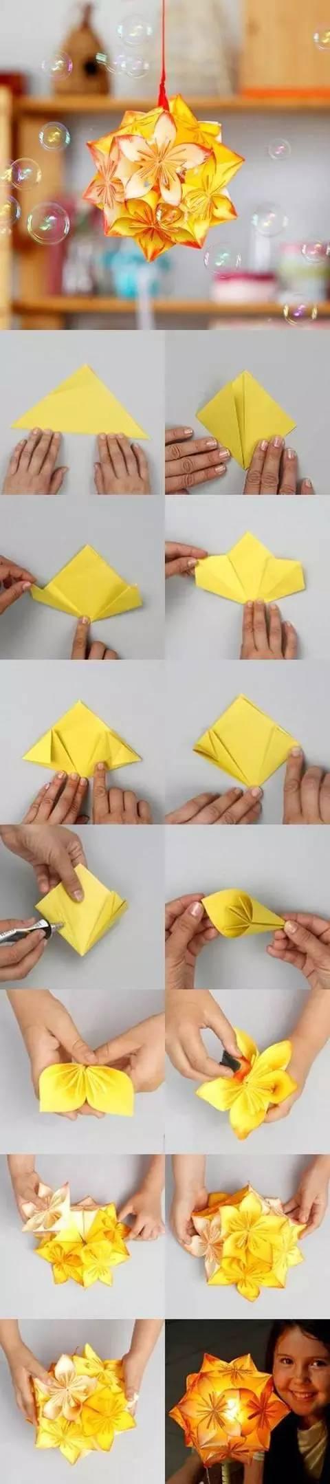 幼儿园手工制作大全 扇形折纸小