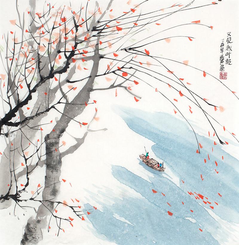 独具风格的水墨写意山水画名家作品 又见秋叶红 收藏升值