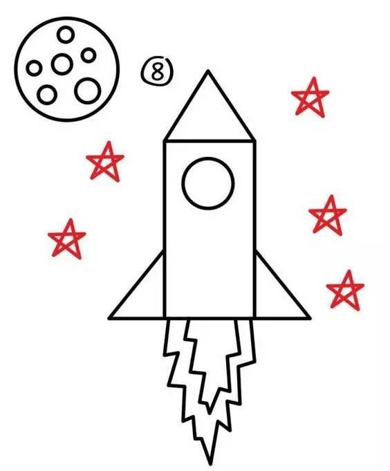 儿童简笔画:一起画火箭飞机,给自己小小的满足图片