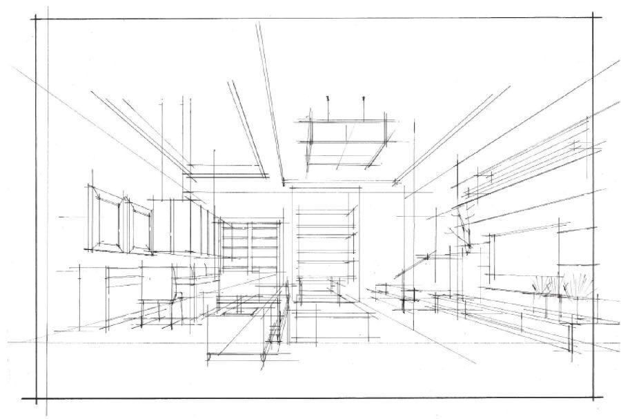 微角透视原理:当人正对着一个室内墙面所看到的一点透视,如果靠近