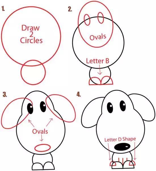 儿童简笔画:陪小孩用字母与图形画出可爱的小狗吧图片